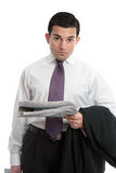 Businessman with financial news royalty free stock photos