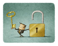 Businessman find solution. Businessman with a key  in a hand and an opend padlock. It is a metaphor to find a solution or a security metaphor Stock Images