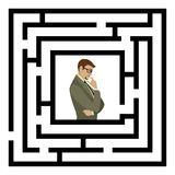 Businessman finding the solution of a maze. Business concept. Various ways. Solving problems. Businessman finding the solution of a maze. Business concept.   on Royalty Free Stock Photos