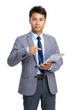 Businessman finger point to digital tablet Royalty Free Stock Image
