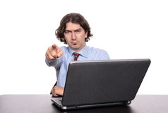 Businessman with finger pointing Stock Photos