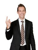 Businessman with finger pointing up Stock Photography