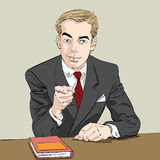 Businessman finger pointing at you. Hand drawn illustration. We need you Royalty Free Stock Images