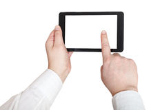 Businessman finger press tablet pc. With cut out screen isolated on white background Stock Photo