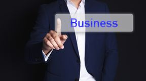 Businessman finger screen business stock photography