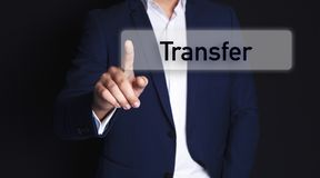 Businessman finger screen transfer royalty free stock images