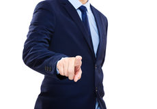 Businessman finger touching front Royalty Free Stock Photography