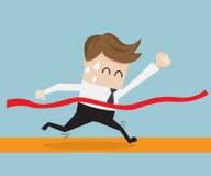Businessman in finish line, business success concept. Illustration Stock Photo