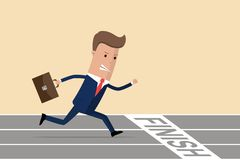 Businessman at finish line. Businessman running with briefcase, business, energetic, dynamic concept. Businessman running down the. Track. Vector illustration royalty free illustration