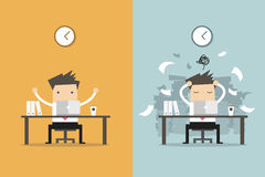 Businessman finish working and busy businessman unfinished work. Business concept cartoon. vector illustration Stock Images