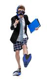 Businessman in fins and goggles keeps folder Royalty Free Stock Photography