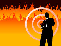 Businessman on Fire Background Royalty Free Stock Photo