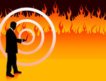 Businessman on Fire Background Royalty Free Stock Image
