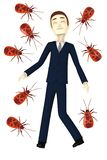 Businessman with fire bugs. 3d render of cartoon businessman with fire bugs Stock Image