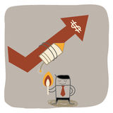 Businessman fire rocket. To up selling Stock Images