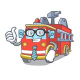Businessman fire truck character cartoon. Vector illustration Royalty Free Stock Images