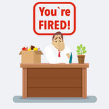 Businessman fired box with office things. Dismissed vector illustration. Fired from job Royalty Free Stock Image