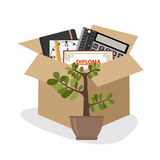 Businessman fired box with office things. Flat design, vector illustration, vector Stock Photos