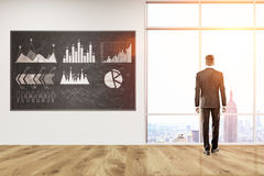 Businessman and firm stats. Man in suit standing with back to viewer looking at big city in office with blackboard with diagrams on it. Concept of business Stock Photos