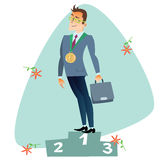 Businessman in first place of the podium business sports competi. Businessman in first place of the podium The topics of business through images of sport and Royalty Free Stock Photography