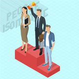 Businessman at the first place on a podium. Businessman winner standing at the first place on a podium holding up a trophy.  Victory celebration isometric 3d Stock Photography