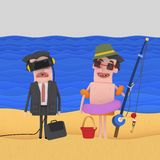 Businessman and fisherman on beach. 