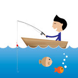 Businessman fishing without bait business concept Stock Photos