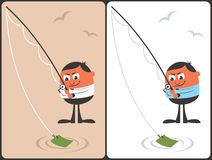 Businessman Fishing Concept. Conceptual illustration with fishing businessman. It is in 2 color versions. No transparency and gradients used Royalty Free Stock Image