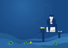 Businessman fishing dollar money. Ideas into money concept.Flat style vector design Stock Photography