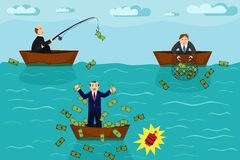Businessman fishing money. Businessmen on boats catching money on fishing. Competition concept vector infographics Stock Photos