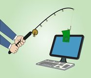 Businessman with fishing a money concept. Businessman Fishing Concept: Conceptual illustration with  fishing a money from computer Royalty Free Stock Photo