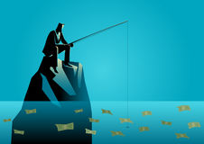 Businessman fishing for money Royalty Free Stock Photos