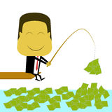 Businessman fishing money Royalty Free Stock Images