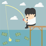 Businessman fishing money Stock Photos