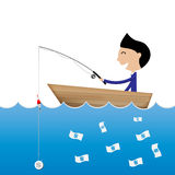 Businessman fishing use dollar coin to catch banknote business c Stock Photo