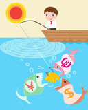 Businessman fishing Royalty Free Stock Photo