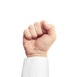 Businessman fist isolated on white background. Close up photo of businessman fist isolated on white background Stock Images