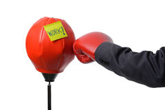 Businessman fist punch punching bag , business concept Stock Photography