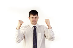Businessman with fists up Royalty Free Stock Photography