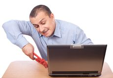 Businessman fixing laptop Stock Photography