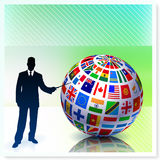 Businessman with Flag Globe on Vector Background Stock Photography