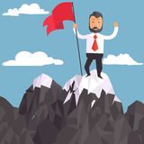 Businessman with flag on a Mountain peak, success. Businessman on a Mountain with flag on peak, success and mission, target and victory, motivation, winner on Stock Photos