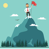 Businessman with flag on a Mountain peak, success. Businessman with red flag on a Mountain peak, success and mission, target and victory, motivation, winner on Stock Photos