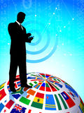 Businessman with Flags Globe Royalty Free Stock Photo