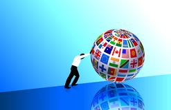 Businessman with Flags Globe Stock Images