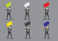 Businessman with Flags Vector Characters Royalty Free Stock Photos
