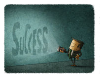Businessman flashlight success shadow. Stock Photo