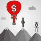 Businessman flies on a ballon with money.  Stock Photos