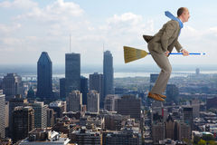 The businessman flies over air Stock Photo