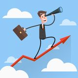 Businessman Flies Over Growing Chart Royalty Free Stock Images